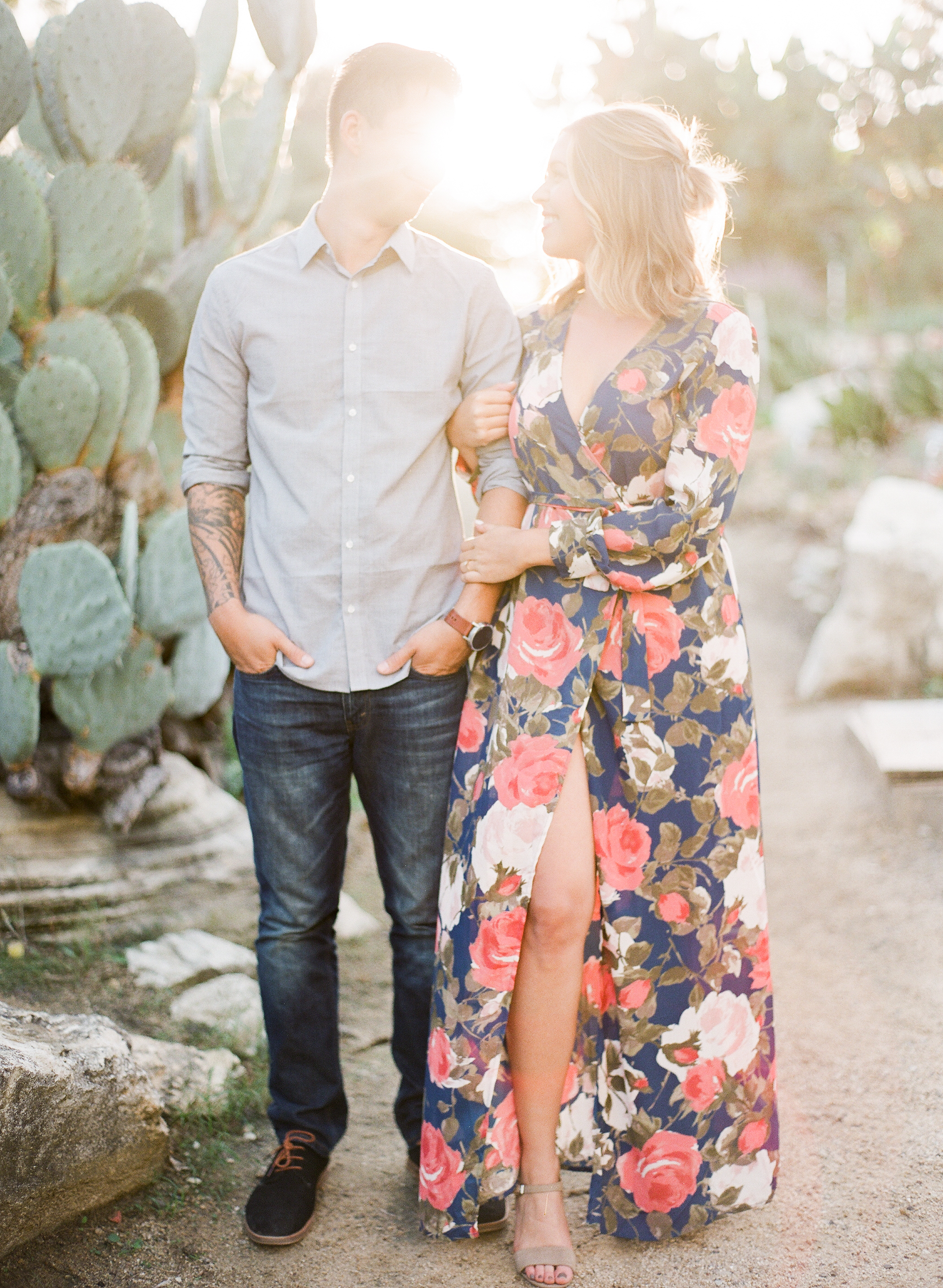 engagement shoot in cactus garden