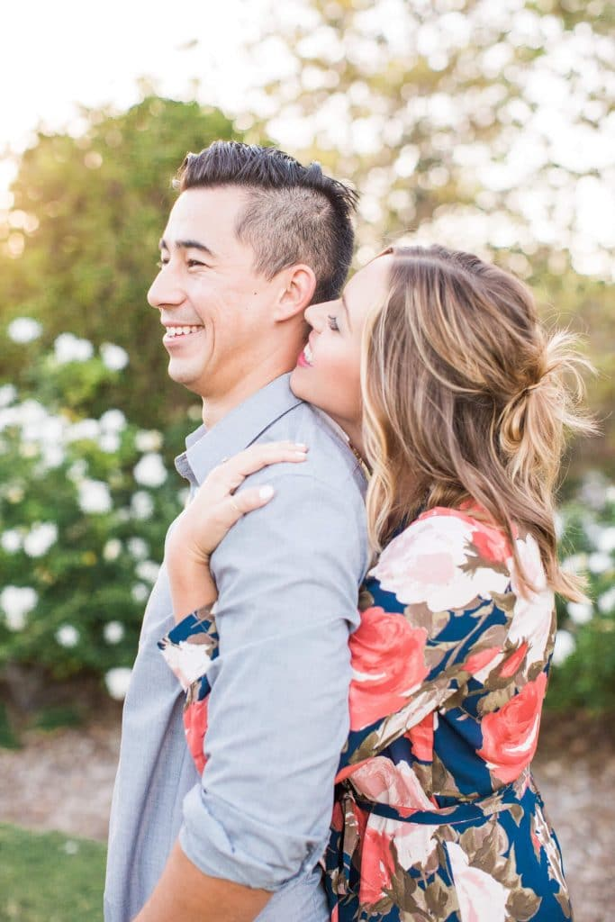 couple in garden for engagement session
