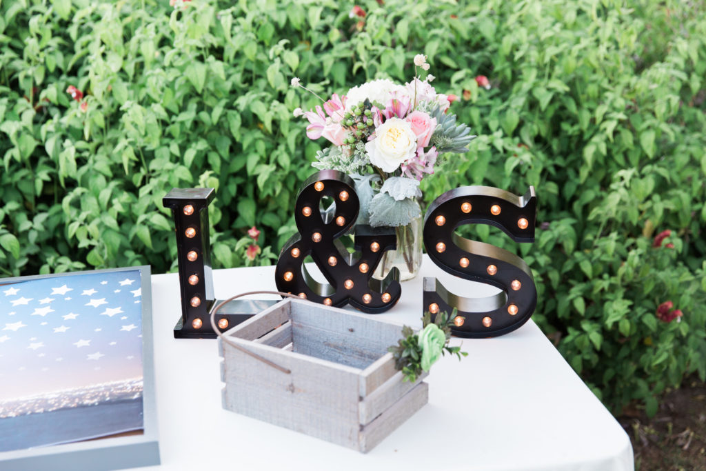 Gift table marquis letter signs