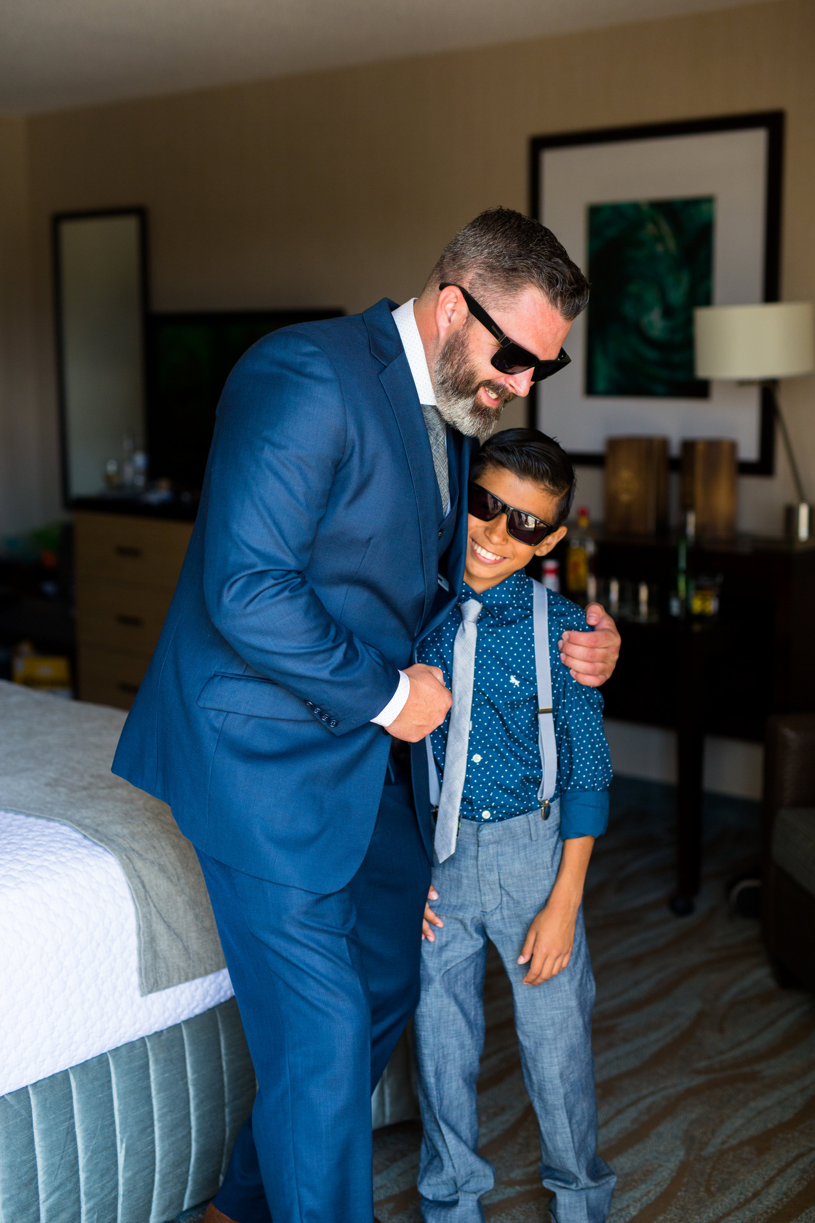 groom and ring bearer with overalls