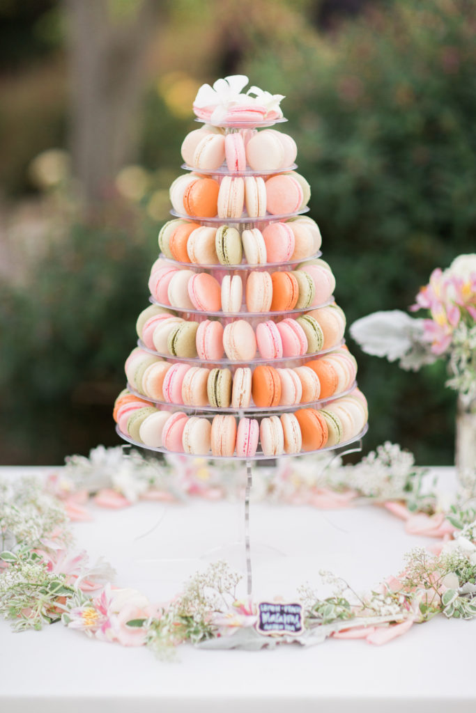 Macarons tower for wedding dessert table