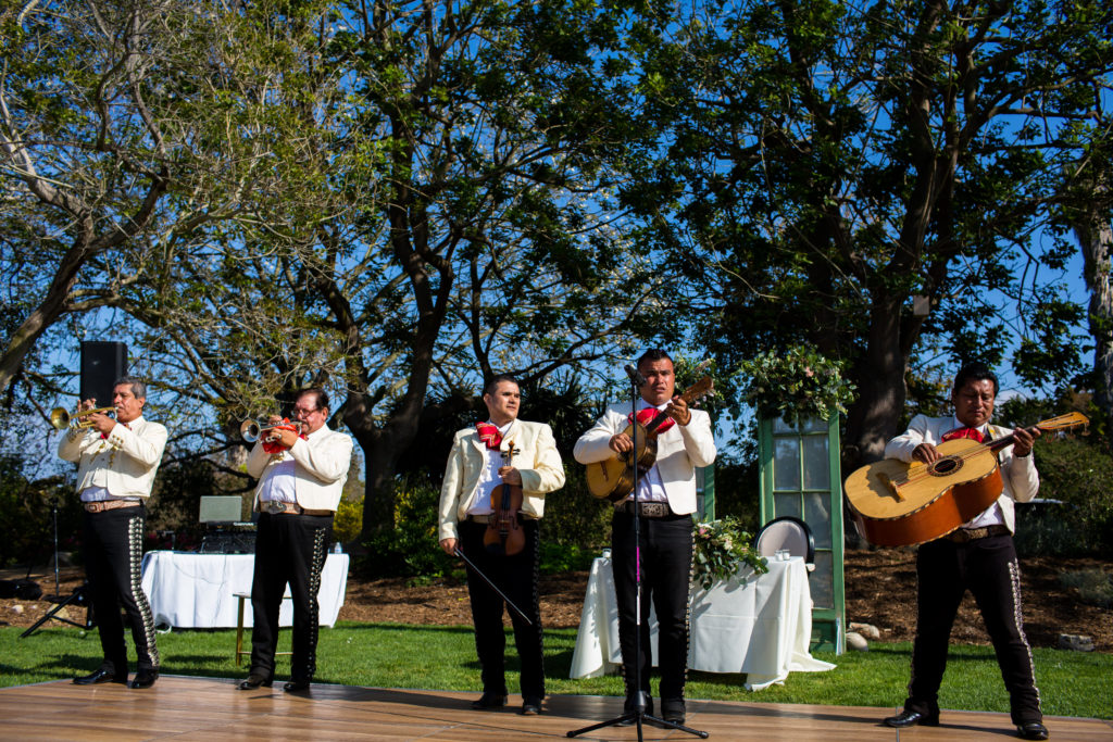 mariachi band at wedding reception at the south coast botanic garden