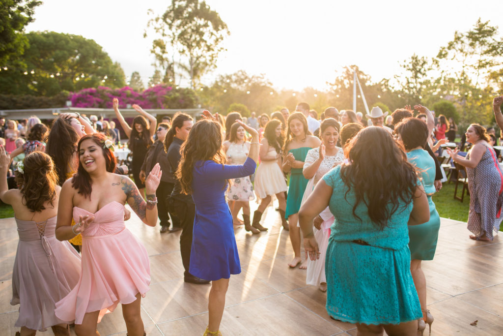 sunset dance party at wedding reception