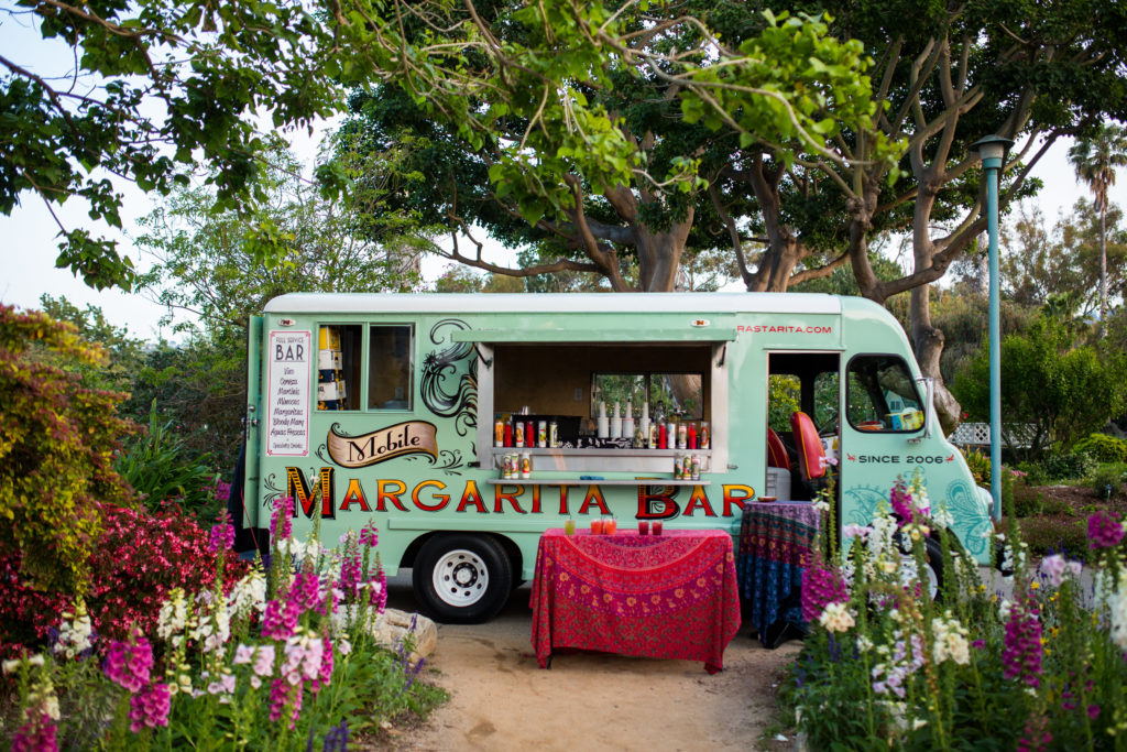 margarita truck at wedding reception in garden