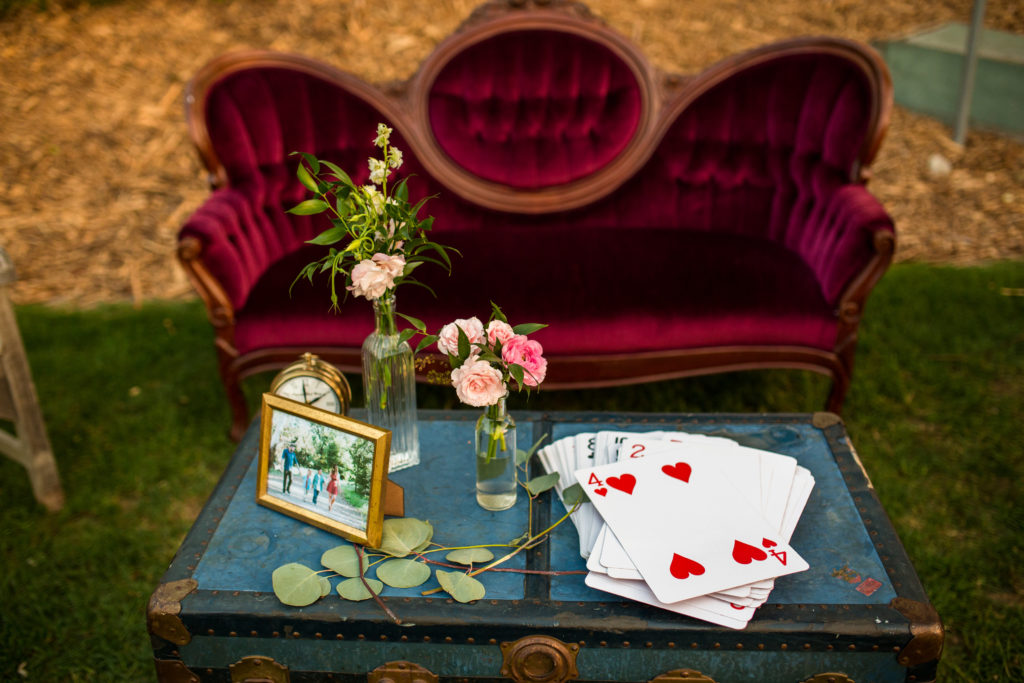 whimsical alice in wonderland wedding lounge area by Circa Vintage Rentals