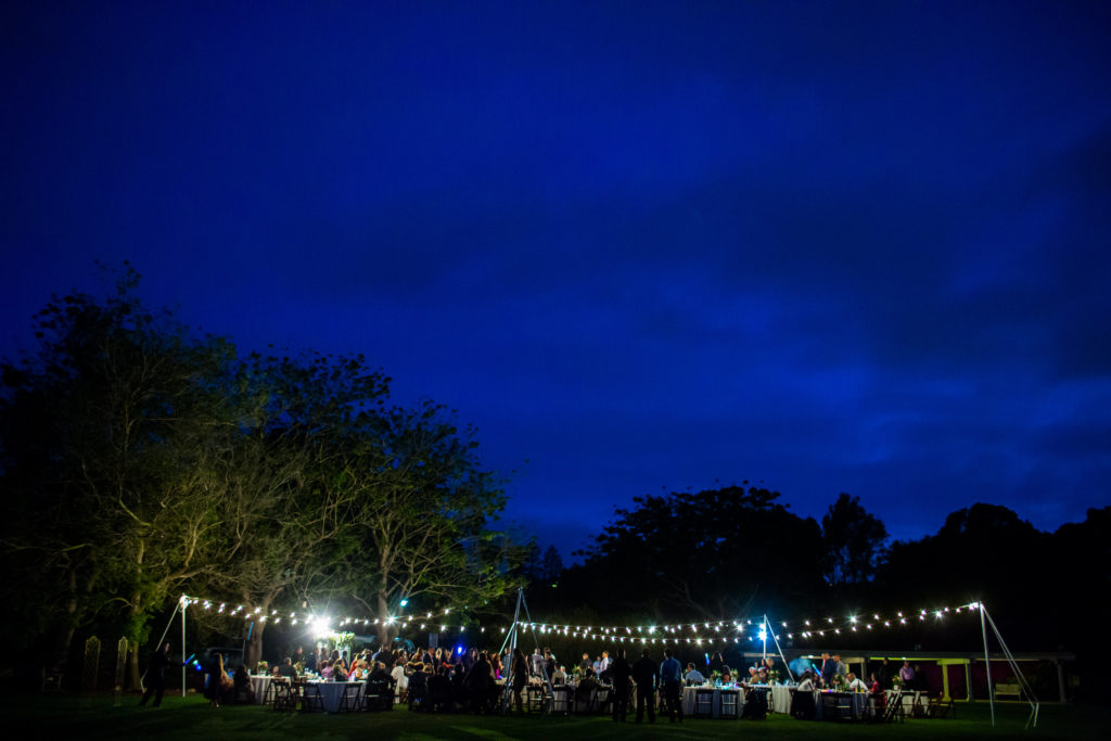 wedding under the stars with bistro lights at south coast botanic garden