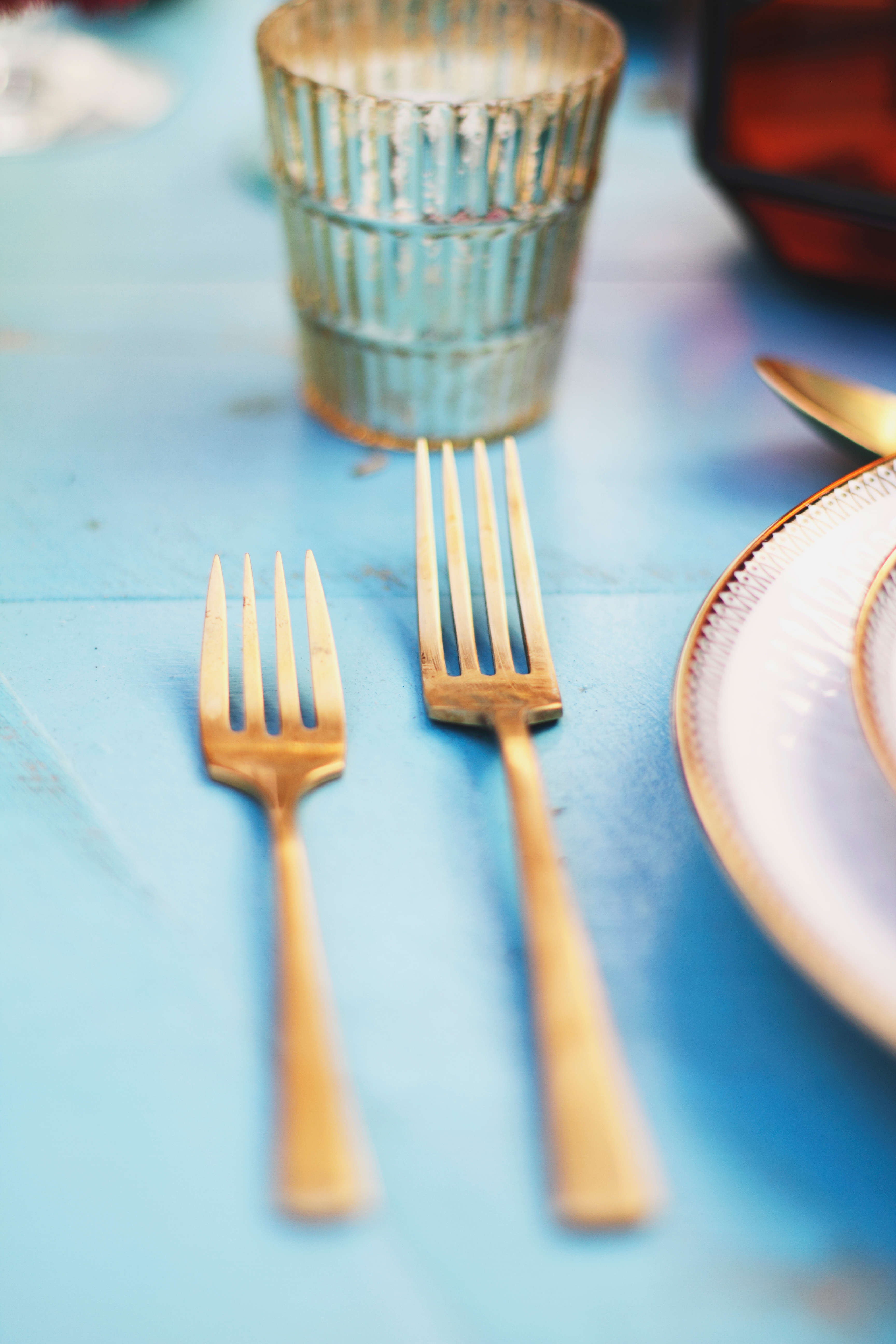 gold wedding forks