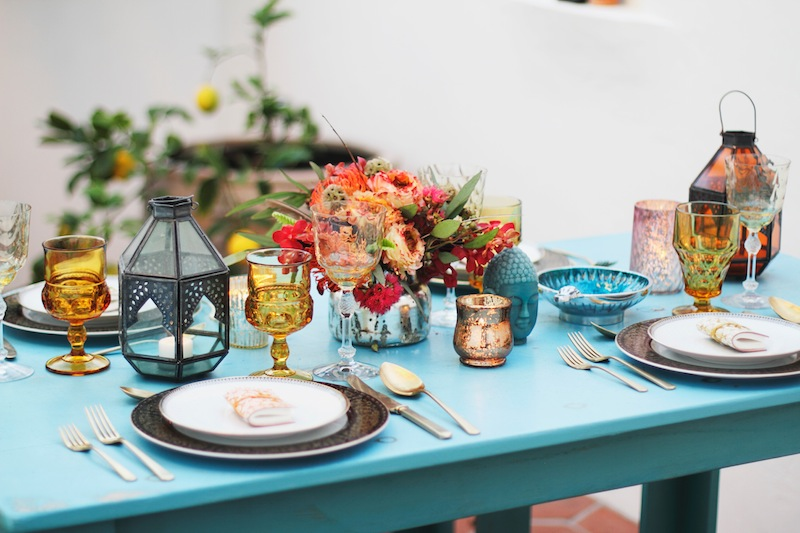 bohemian bright table for bridal shower
