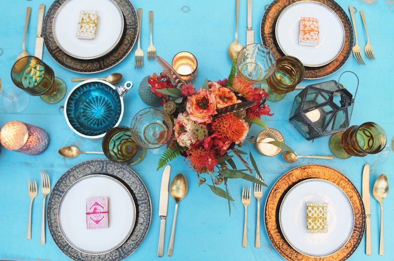 bright blue table with colorful florals bridal brunch