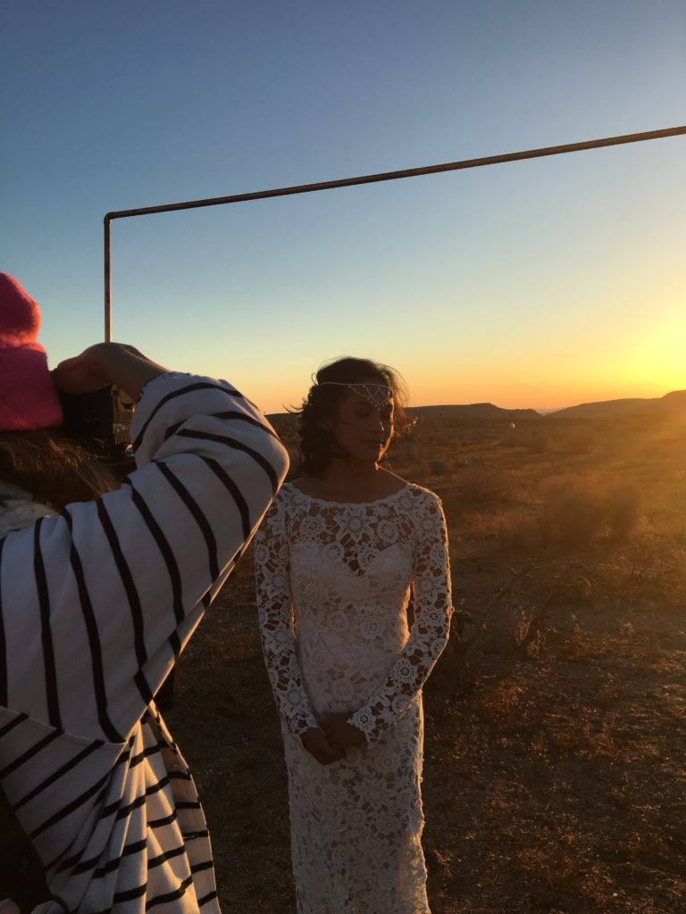 Bohemian bride at Rim Rock Ranch Joshua Tree