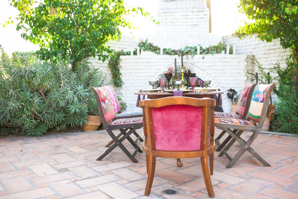eclectic and colorful wedding set up at casino san clemente