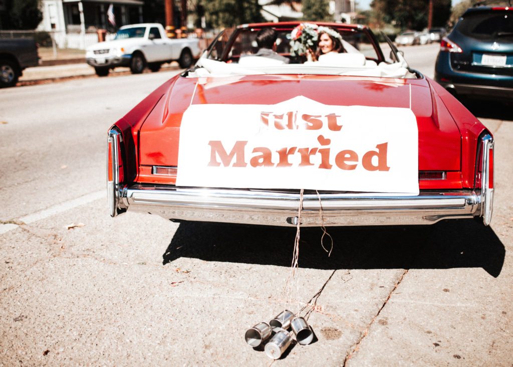just married getaway red convertible