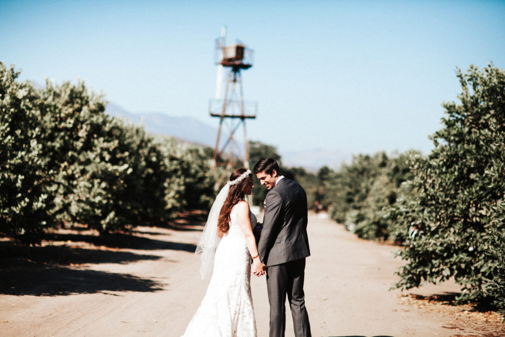 bride and groom at limoneira ranch santa paula