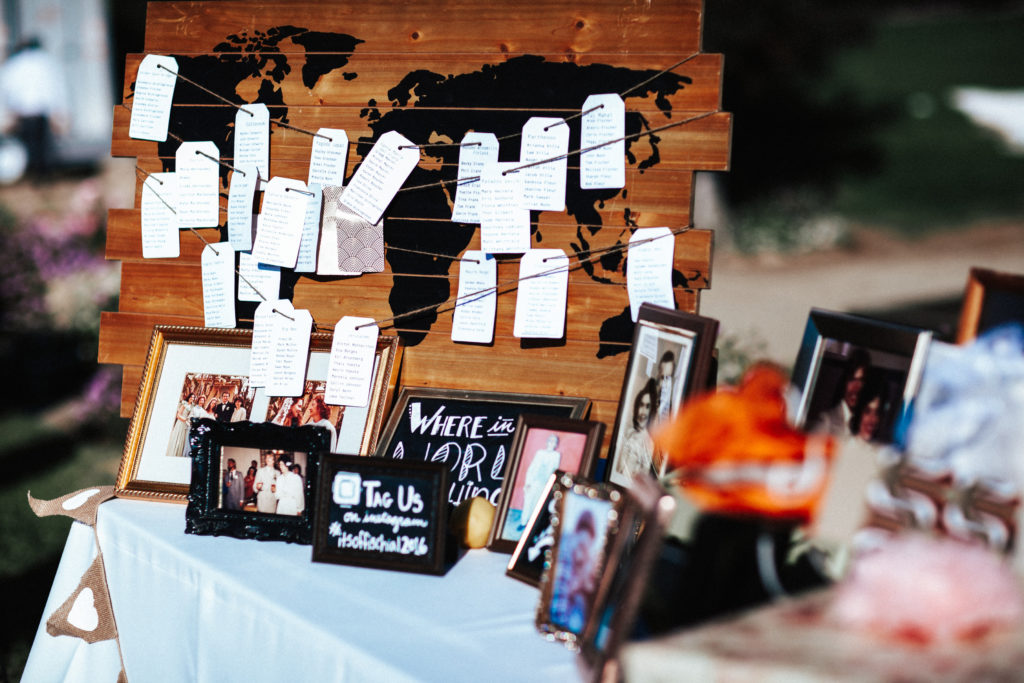 escort card table with map of the world