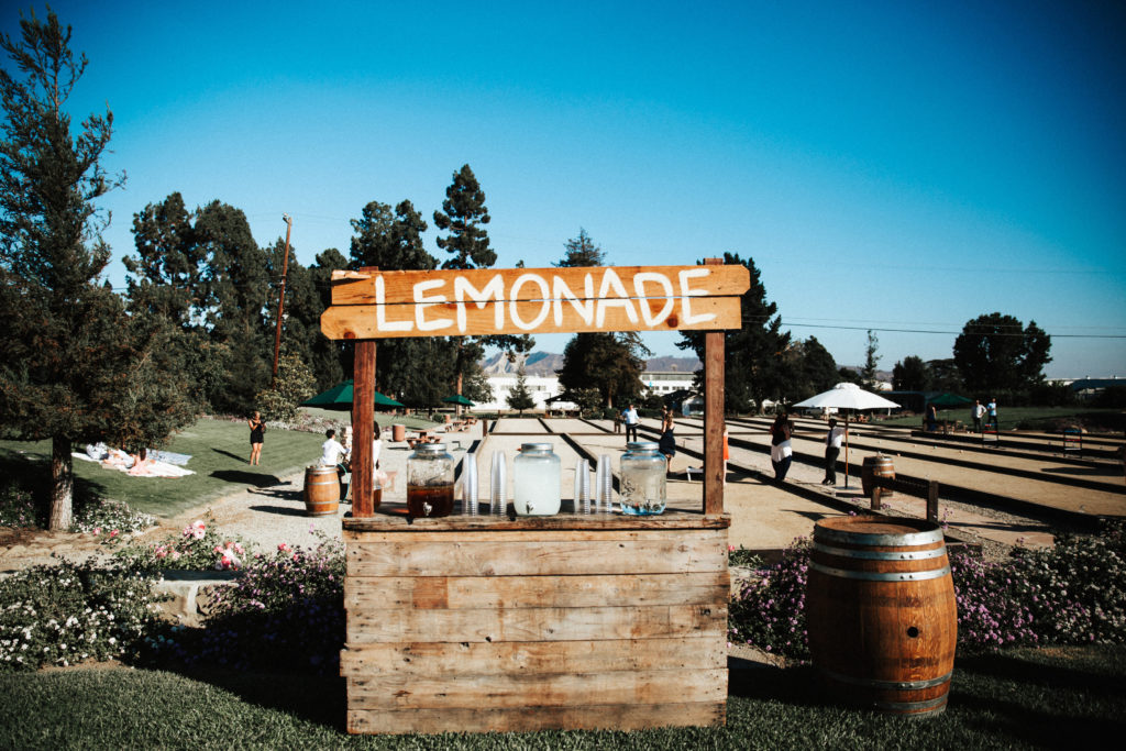 lemonade stand bar for wedding at limoneira ranch