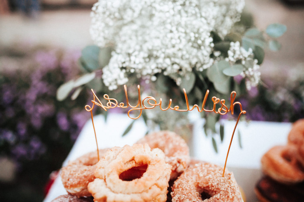 donuts at wedding dessert bar