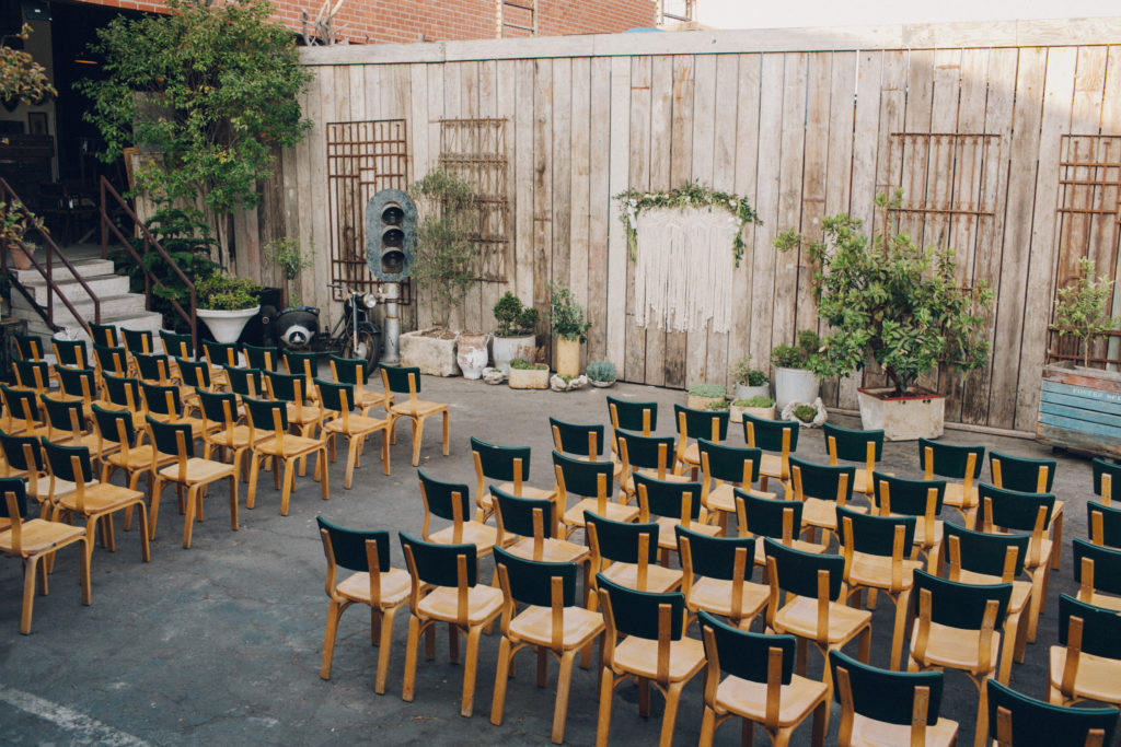 ceremony set up at big daddy's antiques in los angeles outdoors