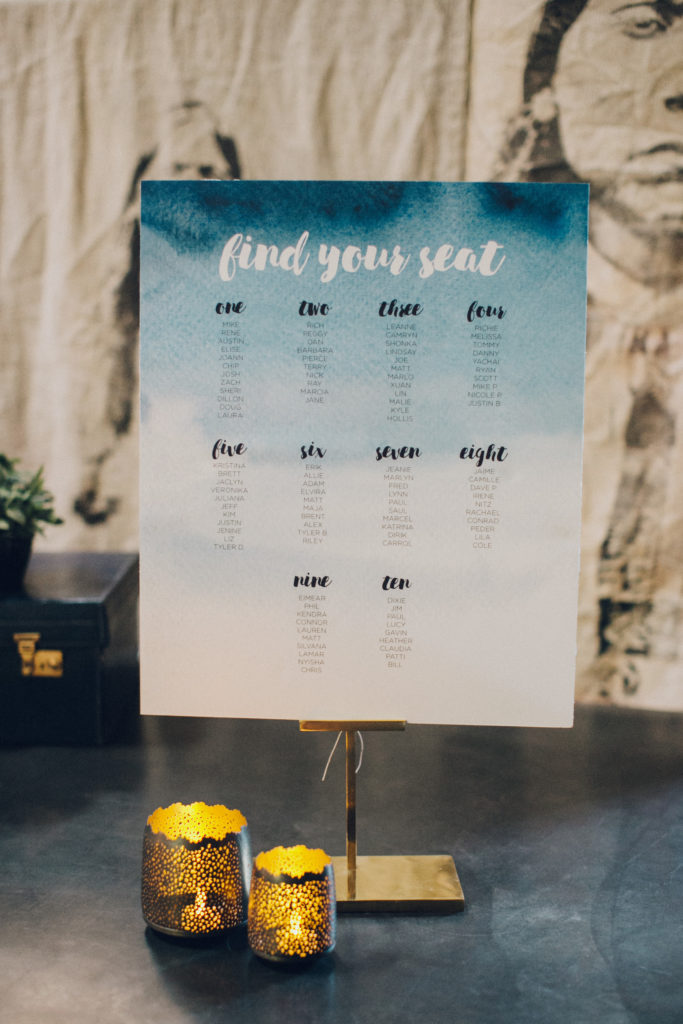 blue and indigo water color seating chart for wedding