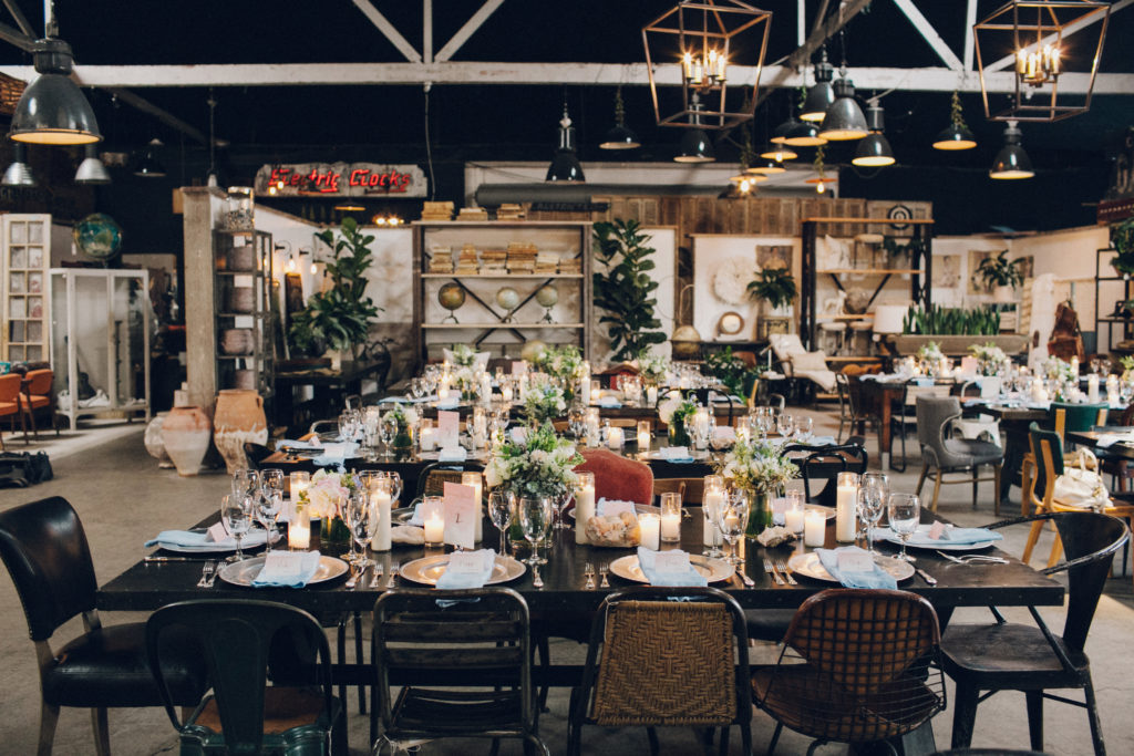 wedding set up at big daddy's antiques los angeles wedding venue warehouse