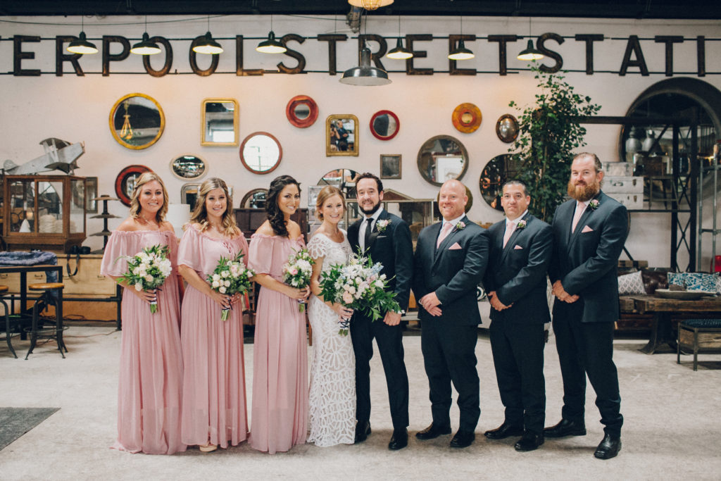 bridal party at big daddy's antiques in los angeles wedding