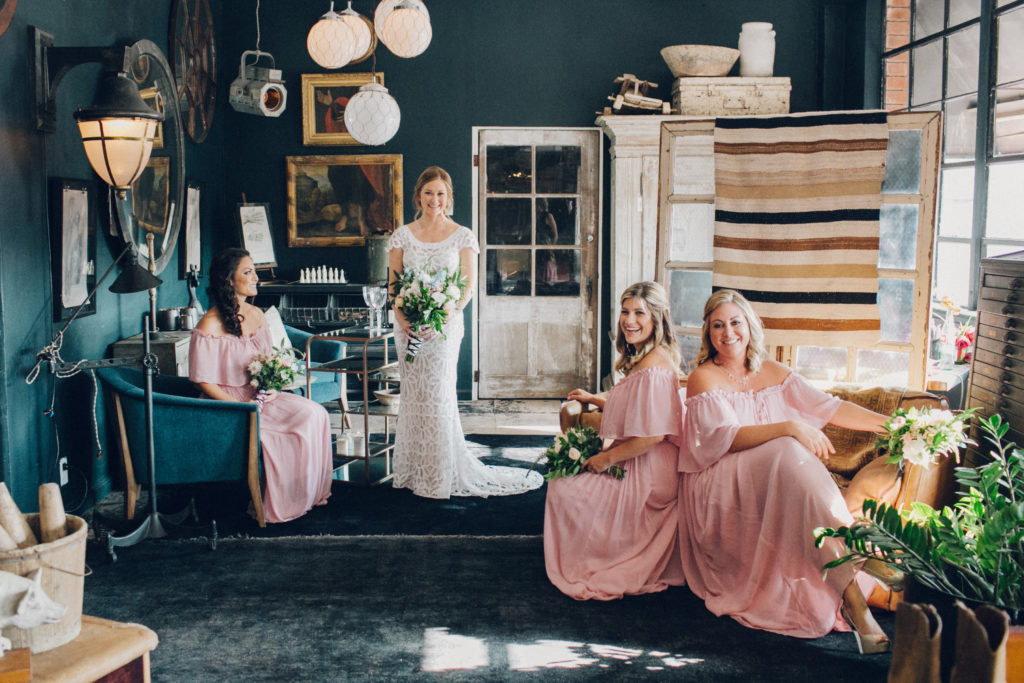 bridesmaids at eclectic wedding venue in los angeles big daddy's antiques