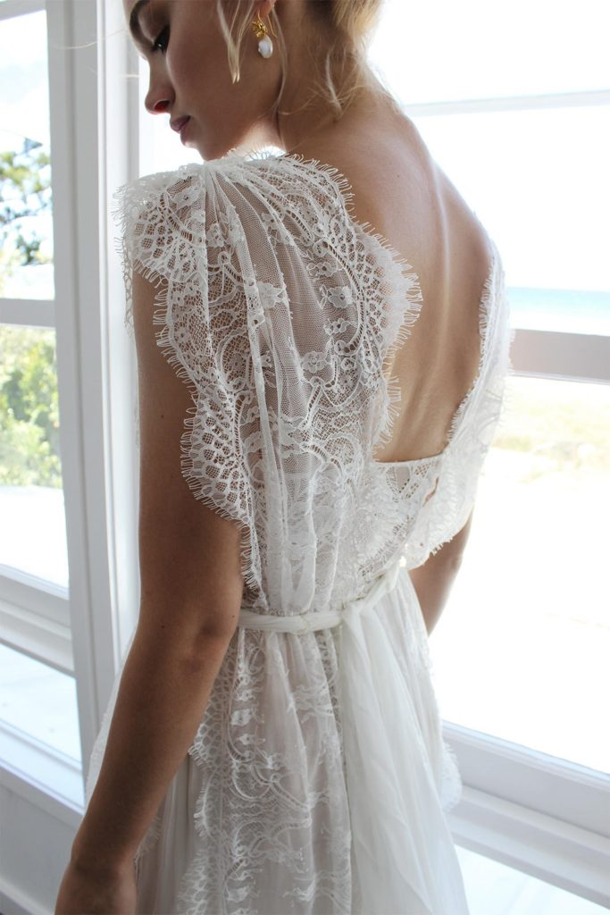 open back wedding dress with capped sleeves