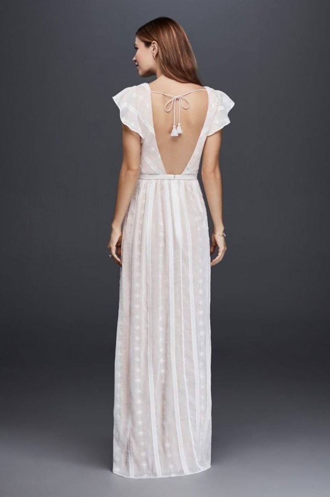 capped sleeve wedding dress with open back