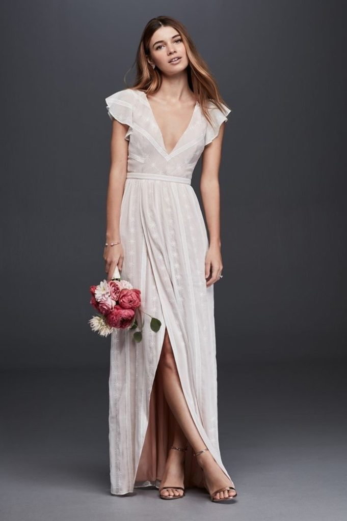 capped sleeve wedding dress with slit