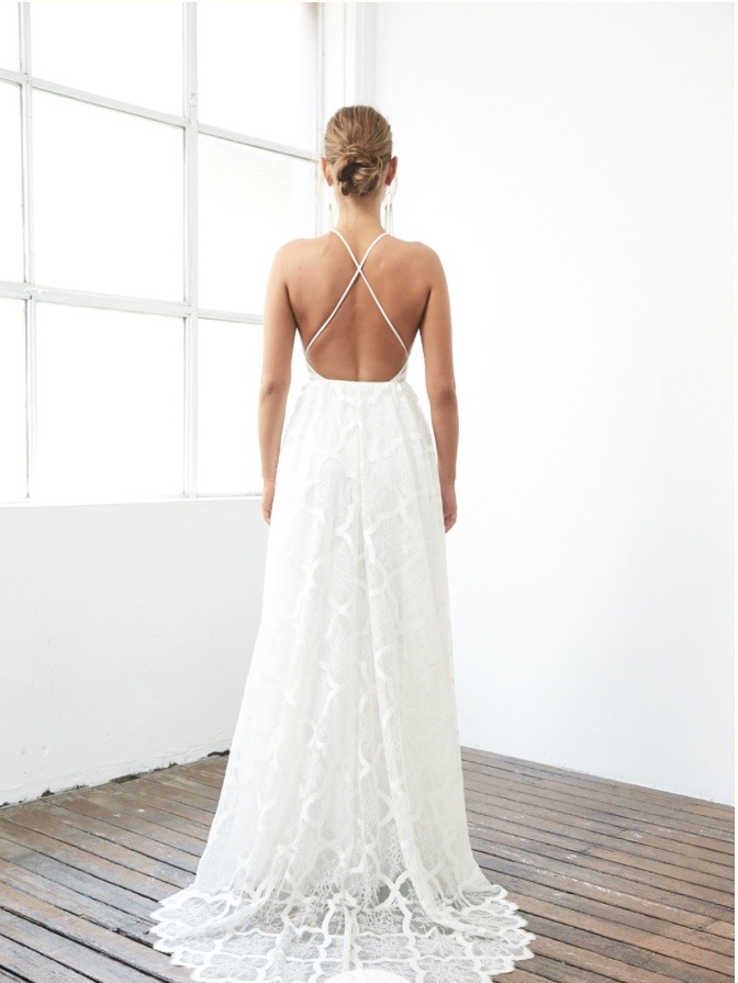 High Neck And Cross Back Wedding Dress