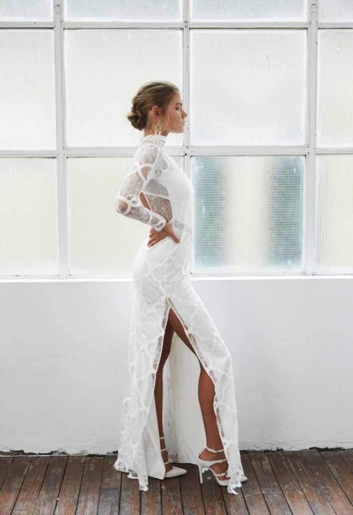 sexy wedding dress with side slit and long sleeves