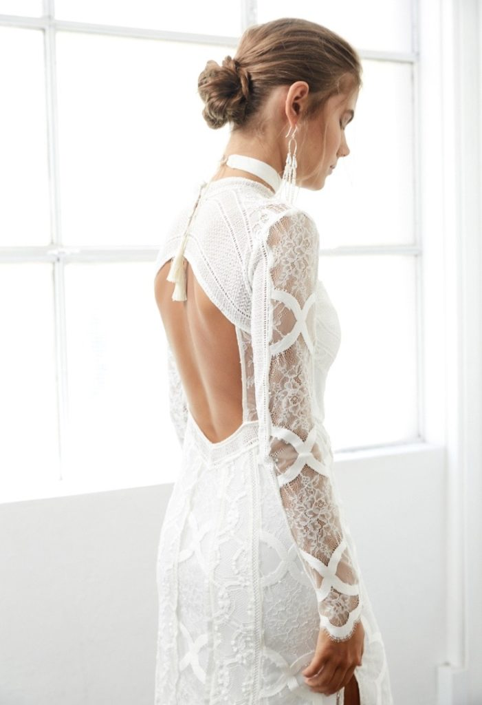 open back wedding dress with long sleeves