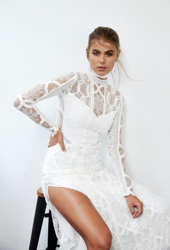 long sleeve and high neck lace wedding dress
