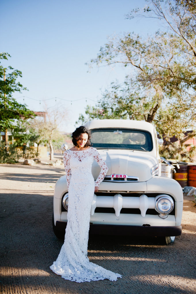 boho bride with lace dress in joshua tree