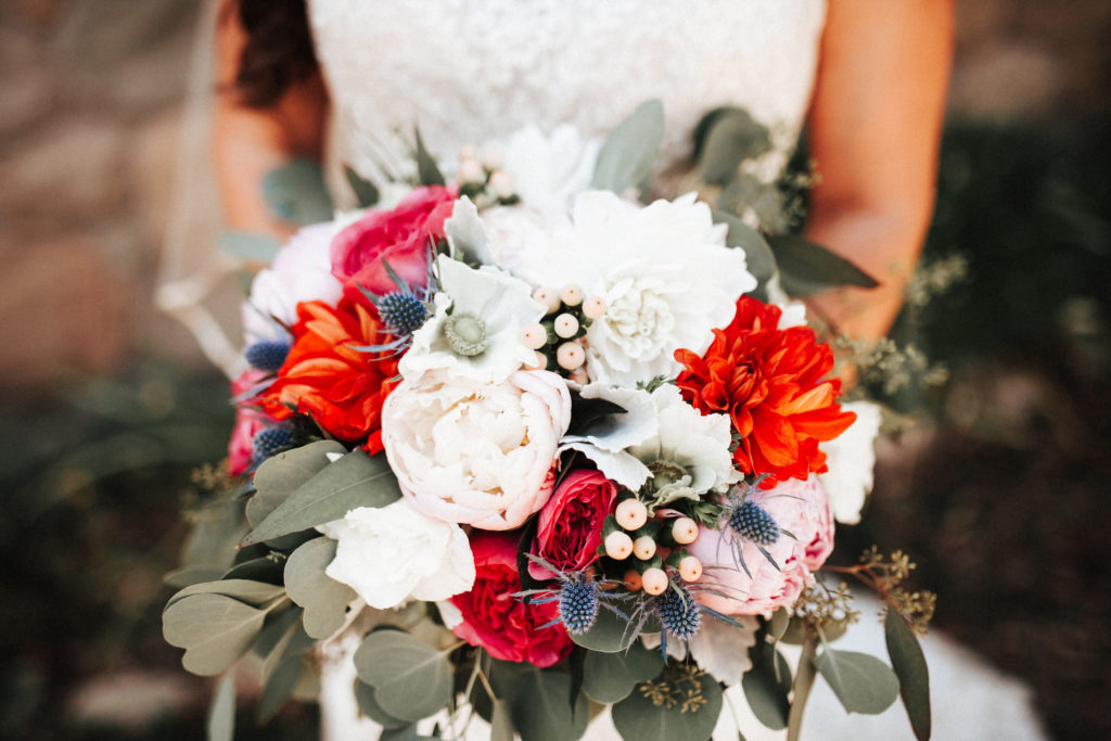 bright colorful bouquet with eucalyptus limoneira ranch
