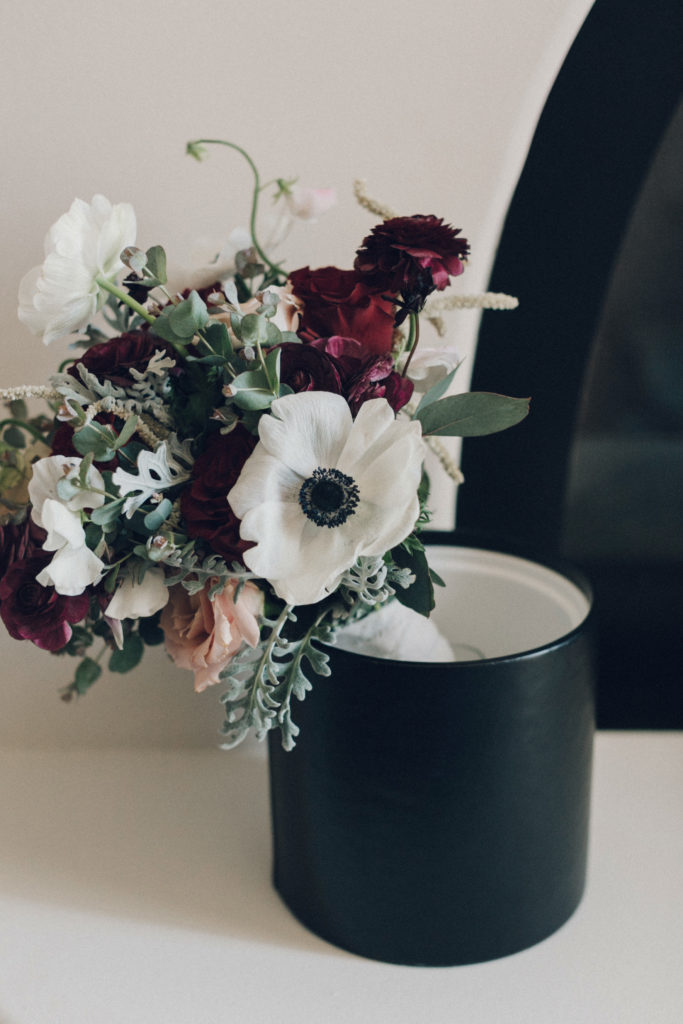 Crimson and white bouquet