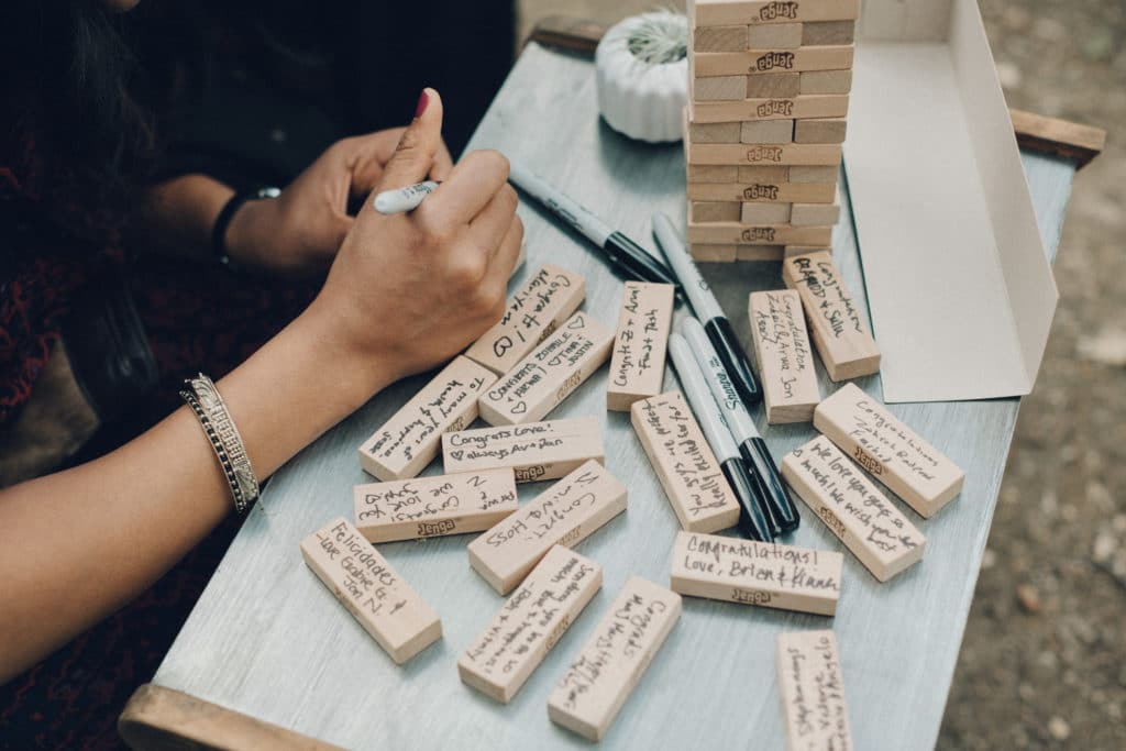 Jenga pieces alternative to guestbook