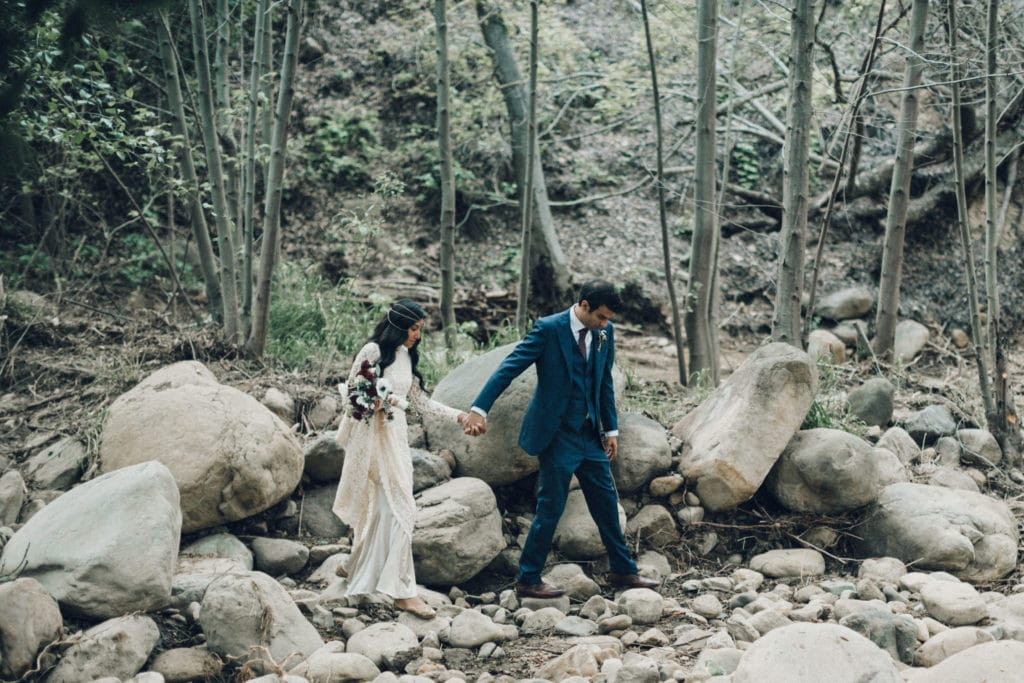 wedding in nature by creek