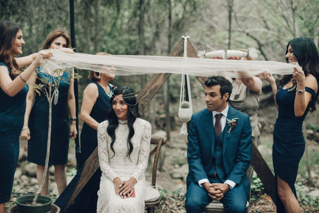 persian ceremony in the woods with sofreh