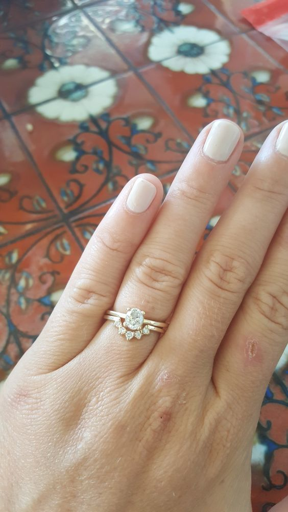 boho nesting ring with yellow gold and oval diamond