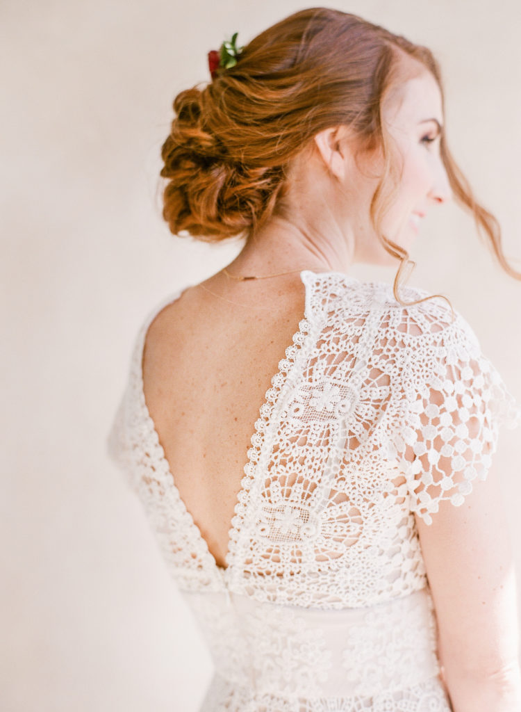 red head bride with beachy updo