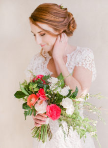 red head bride and bright bouquet