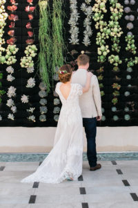 bride and groom first look at shade hotel