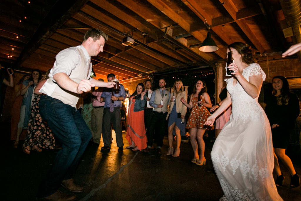 bride and groom dance-off