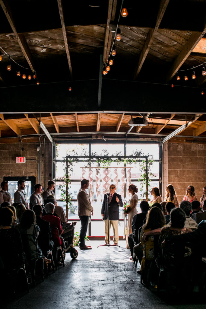 ceremony in front of garage doors