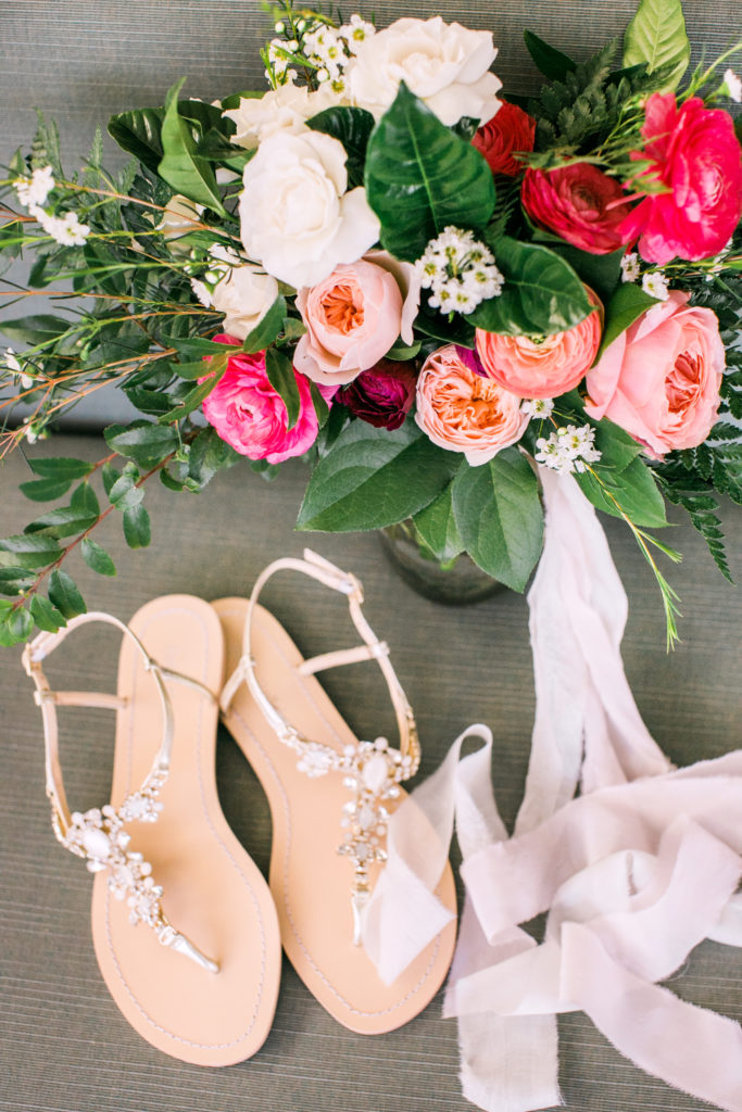 bright coral and pink bouquet with sandals