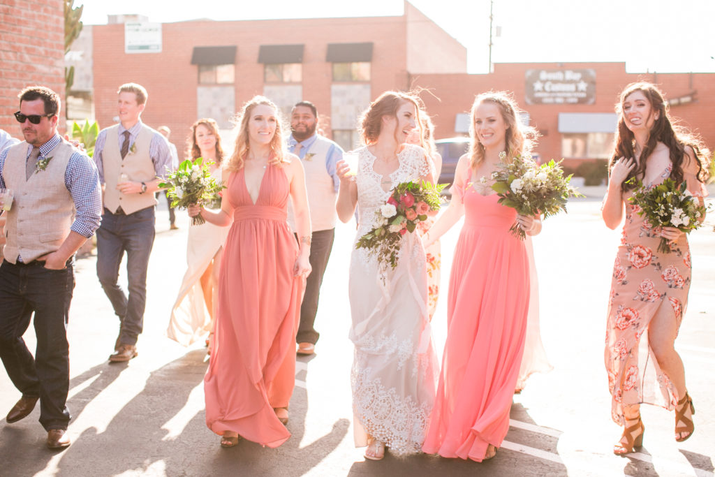 coral bridesmaids dresses at smoky hollow studios