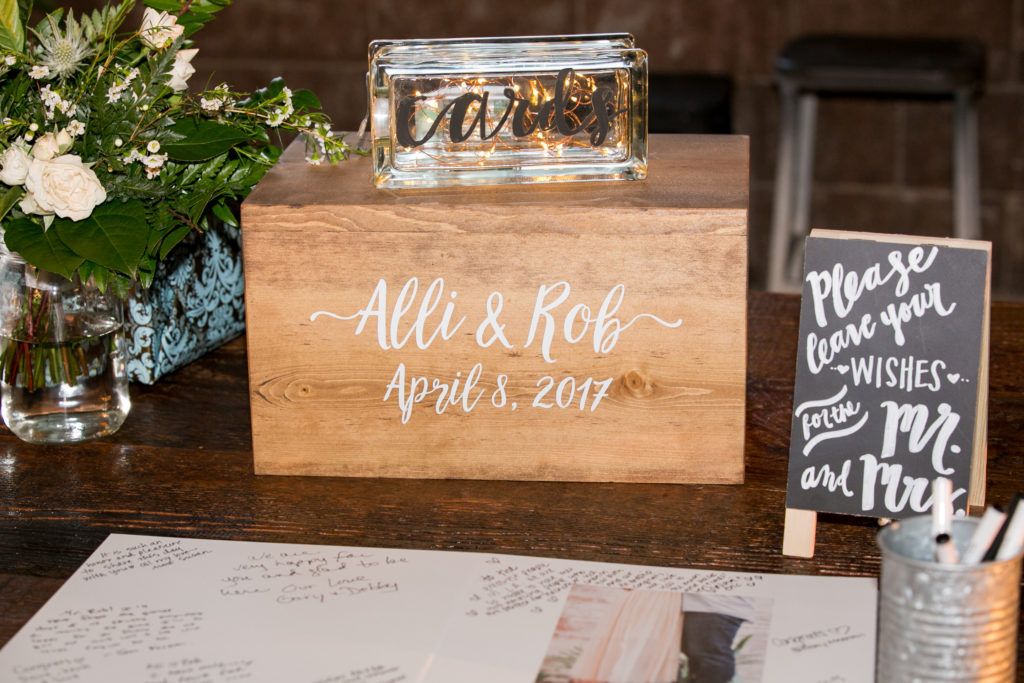 wooden card box and guest book