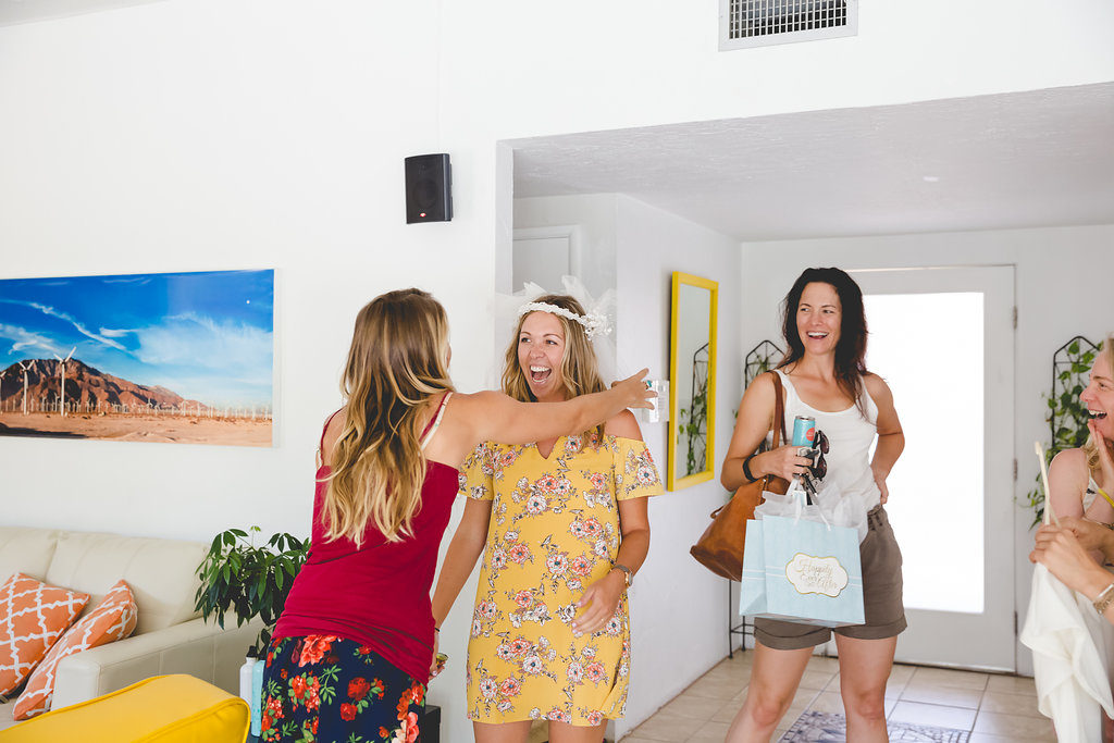 yellow floral dress at bachelorette palm springs
