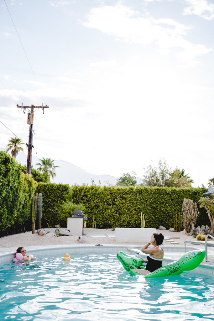 bachelorette party by the pool in Palm Springs