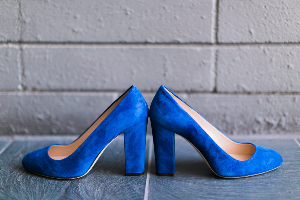 Bride's blue suede shoes